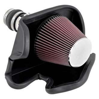 K&N® - 69 Series Typhoon® Aluminum Black Cold Air Intake System with Red Filter