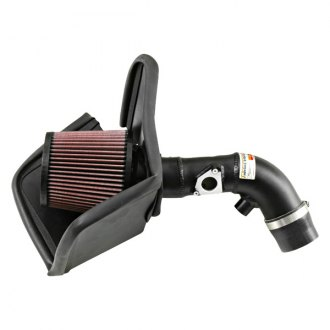 K&N® - 69 Series Typhoon® Aluminum Black Short Ram Air Intake System with Red Filter
