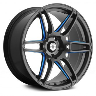 KONIG® - DECEPTION Matte Black with Blue Ball Cut Machined Spokes
