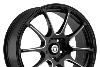 "KONIG® - ILLUSION Black with Ball Cut Machined Spokes (18"" x 8"", +45 Offset, 5x114.3 Bolt Pattern, 73.1mm Hub)"