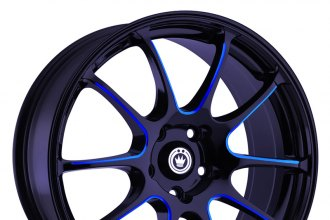 "KONIG® - ILLUSION Black with Blue Ball Cut Machined Spokes (17"" x 7"", +40 Offset, 5x114.3 Bolt Pattern, 73.1mm Hub)"