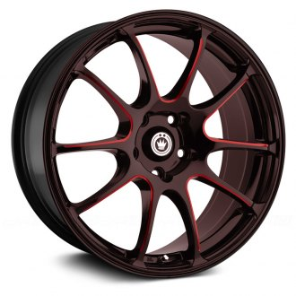 KONIG® - ILLUSION Black with Red Ball Cut Machined Spokes