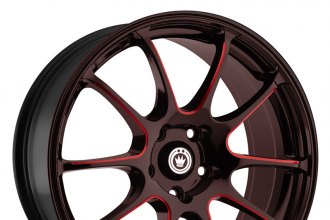 "KONIG® - ILLUSION Black with Red Ball Cut Machined Spokes (17"" x 7"", +40 Offset, 5x114.3 Bolt Pattern, 73.1mm Hub)"