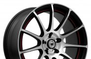 "KONIG® - Z-IN Matte Black with Machined Face and Red Undercut (17"" x 7"", +40 Offset, 5x100 Bolt Pattern, 73.1mm Hub)"