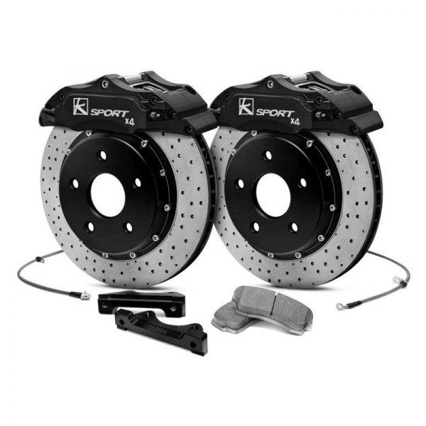 KSport® - ProComp Cross Drilled Fixed Rear Brake Kit with 2-Piston Calipers