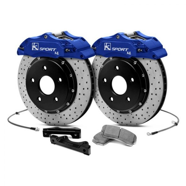 KSport® - ProComp Cross Drilled Fixed Rear Brake Kit with 2-Piston Calipers