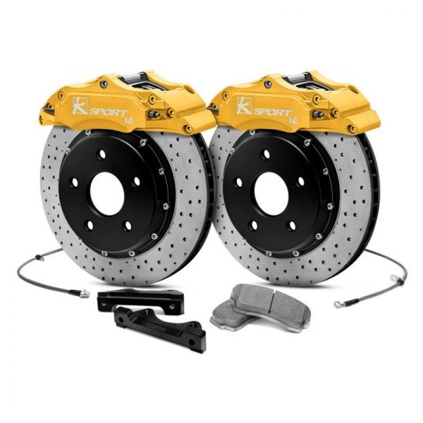 KSport® - ProComp Cross Drilled Floating Rear Brake Kit with 4-Piston Calipers