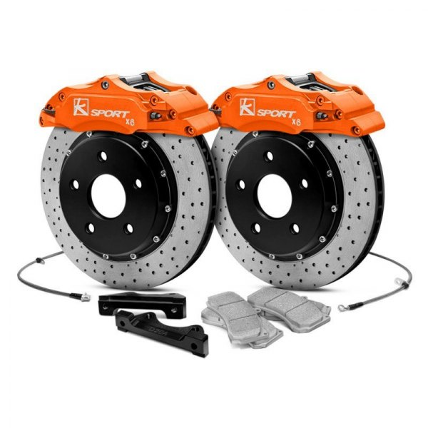 KSport® - ProComp Cross Drilled Fixed Front Brake Kit with 6-Piston Calipers