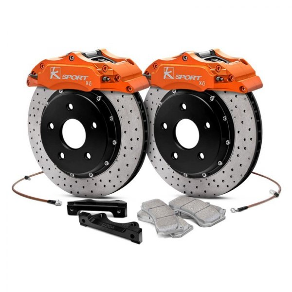 KSport® - ProComp Cross Drilled Floating Front Brake Kit with 6-Piston Calipers