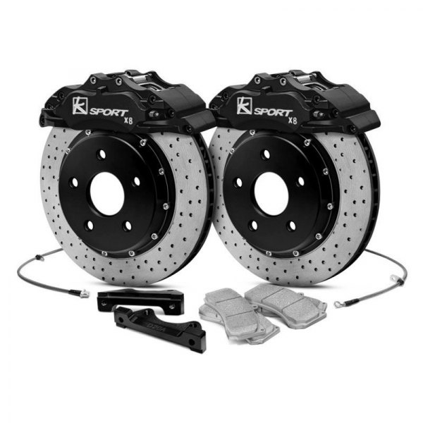 KSport® - ProComp Cross Drilled Floating Front Brake Kit with 8-Piston Calipers