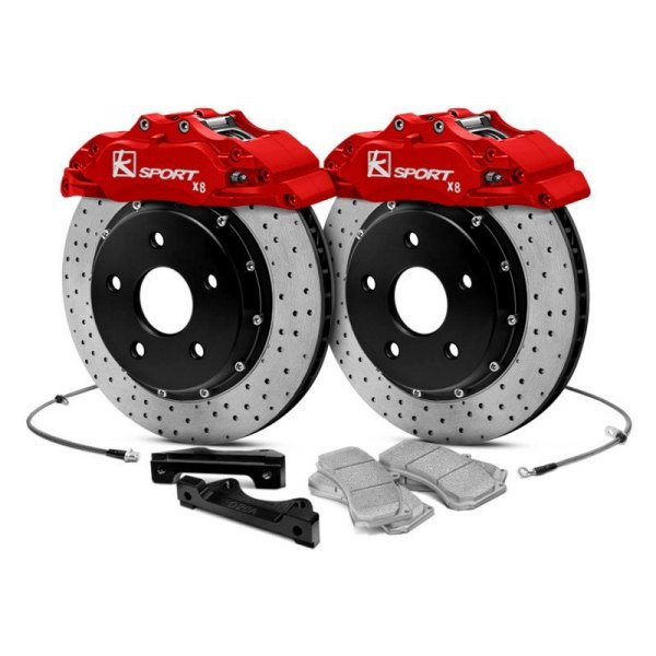 KSport® - ProComp Cross Drilled Fixed Front Brake Kit with 8-Piston Calipers