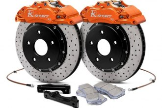 "KSport® BKSC040-831CO - ProComp Cross Drilled Front Brake Kit (330mm (13""), 8 Piston, Cross Drilled, Standard Rotors, Street Pads, Orange)"
