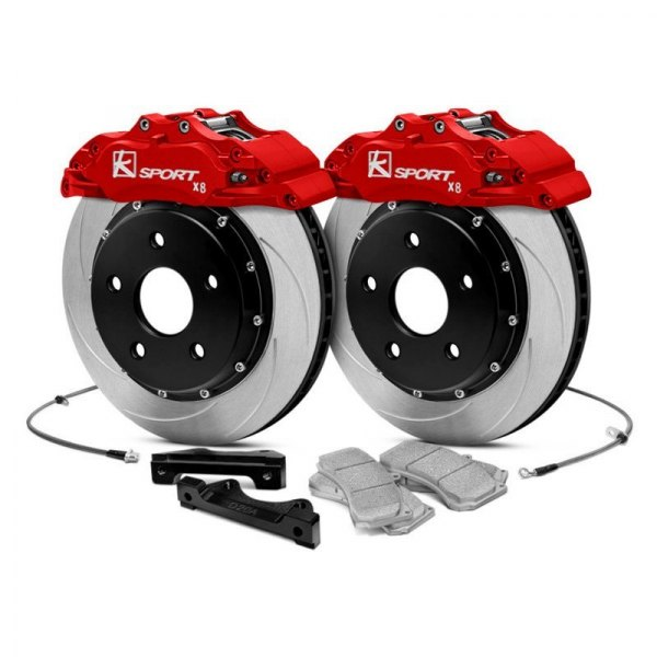 Image may not reflect your exact vehicle! KSport® - ProComp Slotted Brake Kit with 8 Pistons Calipers