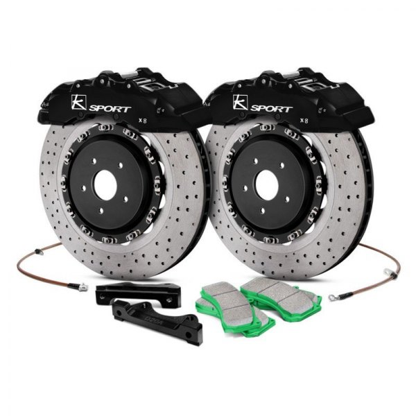 KSport® - SuperComp Cross Drilled Fixed Front Brake Kit with 8-Piston Calipers
