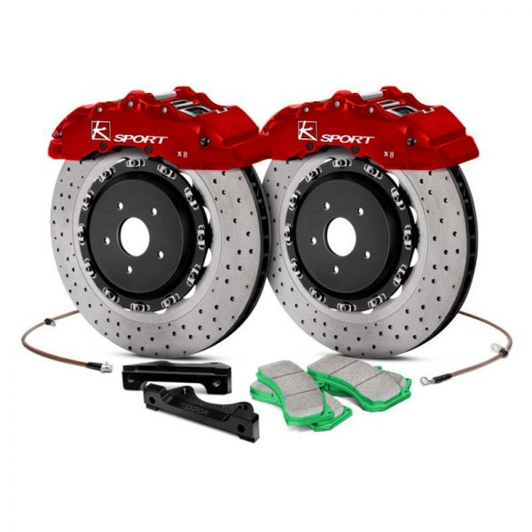 KSport® - SuperComp Cross Drilled Floating Front Brake Kit with 8-Piston Calipers