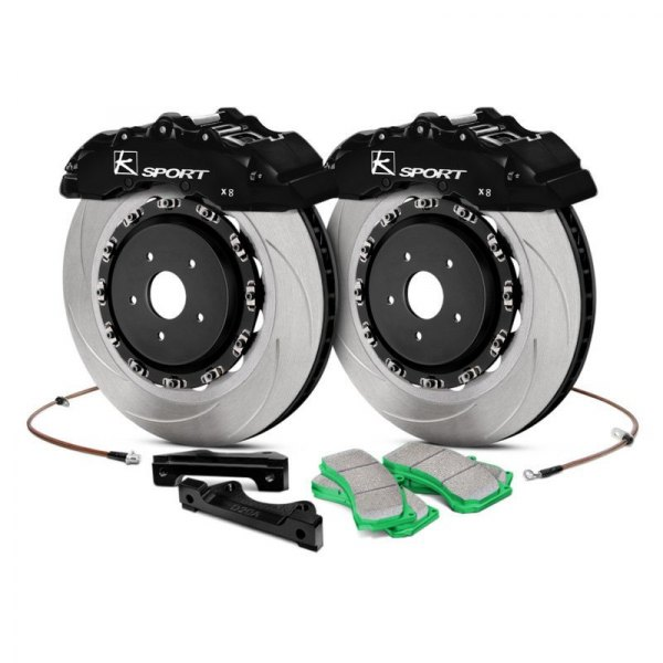 KSport® - SuperComp Slotted Fixed Front Brake Kit with 8-Piston Calipers