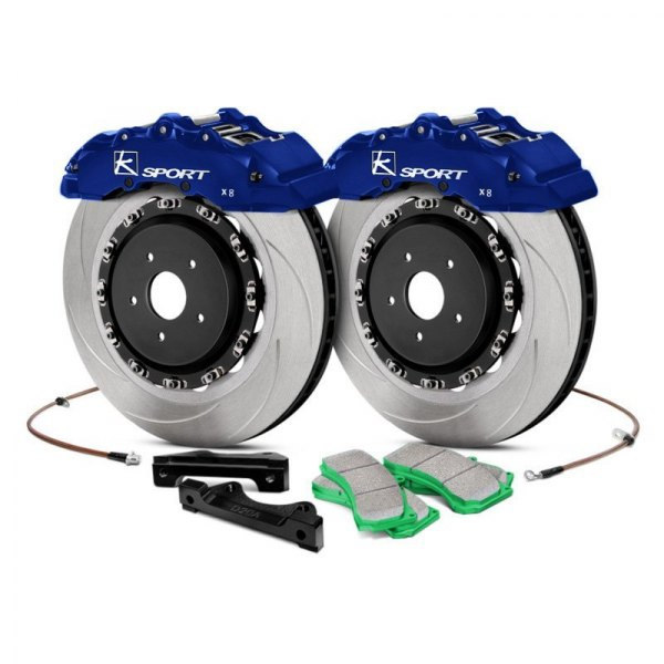 KSport® - SuperComp Slotted Floating Front Brake Kit with 8-Piston Calipers