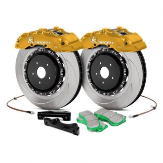 "KSport® - SuperComp Slotted Front Brake Kit (421mm (16.6""), 8 Piston, Slotted, Standard Rotors, Race Pads, Yellow)"