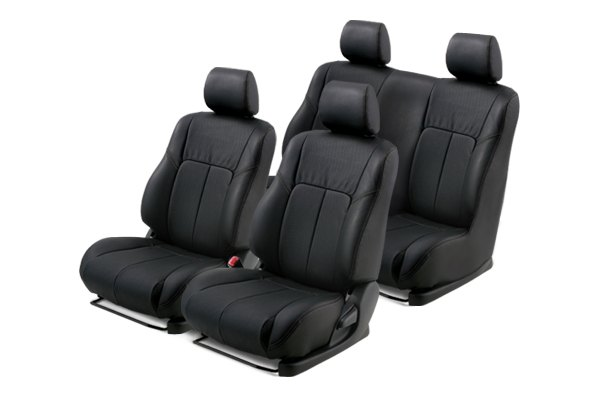 Leathercraft® - Front and Rears Black Custom Leather Seat Covers with Black Insert