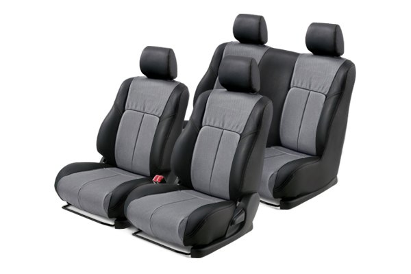 Leathercraft® - Front and Rears Black Custom Leather Seat Covers with Gray Insert