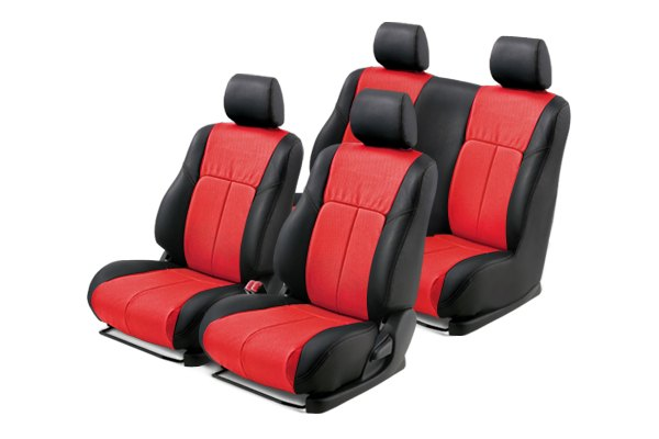 Leathercraft® - Front and Rears Black Custom Leather Seat Covers with Red Insert