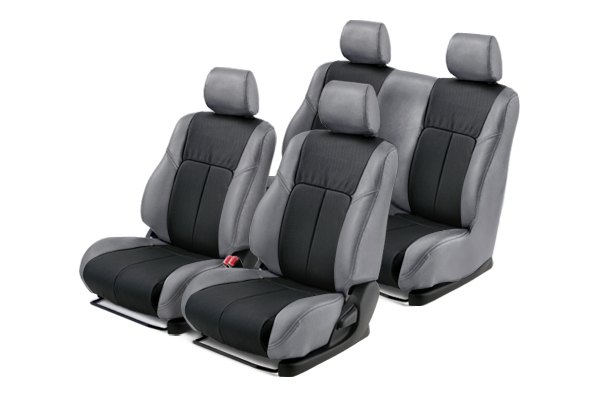 Leathercraft® - Front and Rears Gray Custom Leather Seat Covers with Black Insert