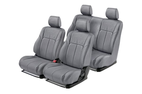 Leathercraft® - Front and Rears Gray Custom Leather Seat Covers with Gray Insert