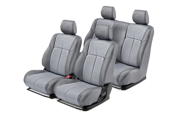 Leathercraft® - Front and Rears Gray Custom Leather Seat Covers with Light Gray Insert