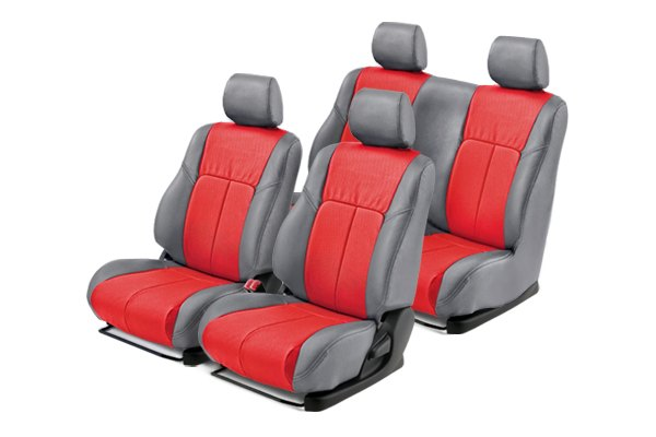 Leathercraft® - Front and Rears Gray Custom Leather Seat Covers with Red Insert
