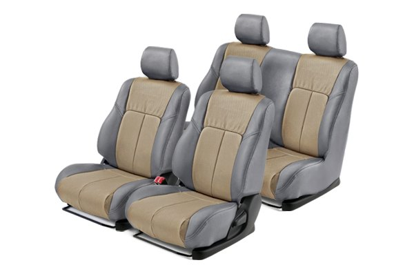 Leathercraft® - Front and Rears Gray Custom Leather Seat Covers with Tan Insert