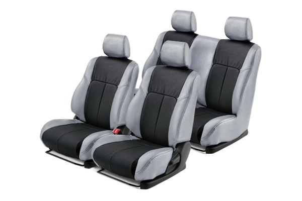 Leathercraft® - Front and Rears Light Gray Custom Leather Seat Covers with Black Insert