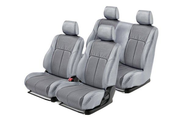 Leathercraft® - Front and Rears Light Gray Custom Leather Seat Covers with Gray Insert