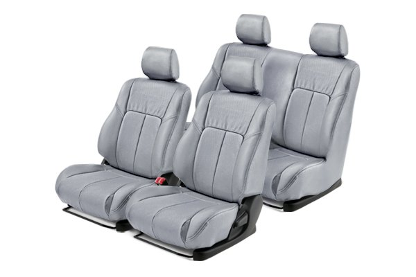 Leathercraft® - Front and Rears Light Gray Custom Leather Seat Covers with Light Gray Insert
