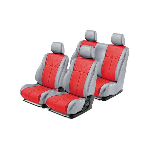 Leathercraft® - Front and Rears Light Gray Custom Leather Seat Covers with Red Insert