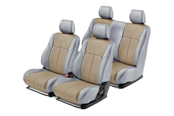 Leathercraft® - Front and Rears Light Gray Custom Leather Seat Covers with Tan Insert