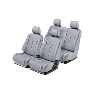 Leathercraft® - 1st & 2nd Rows Light Gray Leather Seat Covers