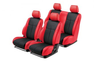 Leathercraft® GMC7582RKT - Front and Rear Red Custom Leather Seat Covers (W/O 3rd Row, Black Insert, Tan Stitching)