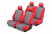 Leathercraft® - Front and Rear Red Custom Leather Seat Covers with Gray Insert