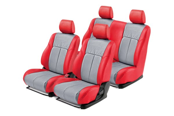 Leathercraft® - Front and Rears Red Custom Leather Seat Covers with Light Gray Insert