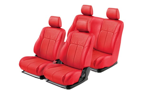 Leathercraft® - Front and Rears Red Custom Leather Seat Covers with Red Insert