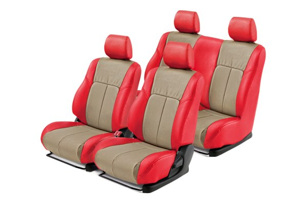 Leathercraft® - Front and Rears Red Custom Leather Seat Covers with Tan Insert