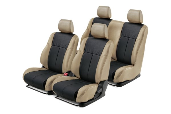 Leathercraft® - Front and Rears Tan Custom Leather Seat Covers with Black Insert