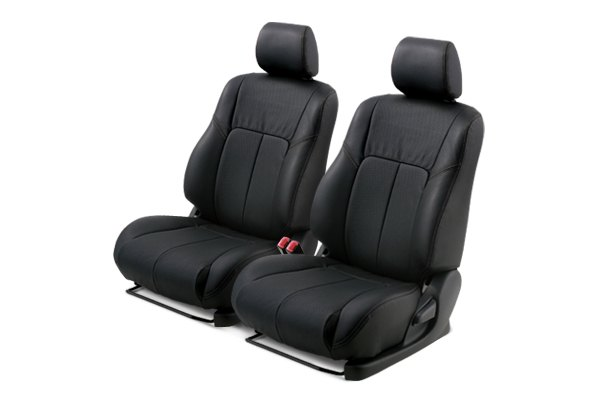 Leathercraft® - Front Black Custom Leather Seat Covers with Black Insert