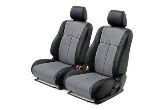 Leathercraft® FRD7202KGT-FS - Front Black Custom Leather Seat Covers (Gray Insert, Tan Stitching)