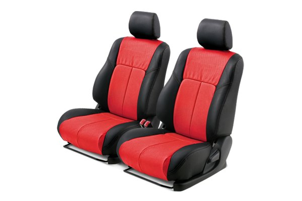 Leathercraft® - Front Black Custom Leather Seat Covers with Red Insert
