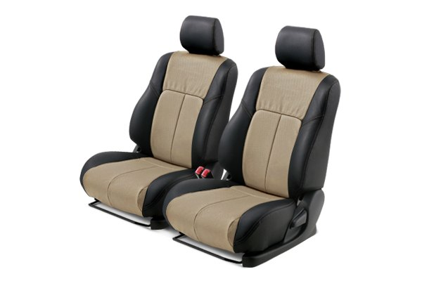 Leathercraft® - Front Black Custom Leather Seat Covers with Tan Insert