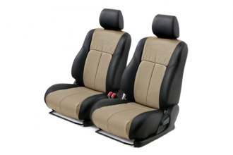 Leathercraft� - Front Black Custom Leather Seat Covers with Tan Insert