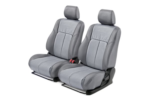 Leathercraft® - Front Gray Custom Leather Seat Covers with Light Gray Insert