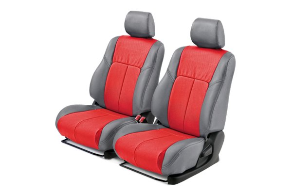 Leathercraft® - Front Gray Custom Leather Seat Covers with Red Insert
