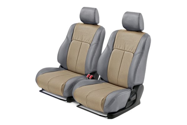 Leathercraft® - Front Gray Custom Leather Seat Covers with Tan Insert